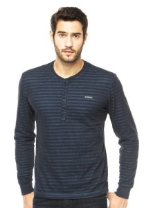 camisa gola henley azul
