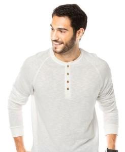 camisa gola henley branca
