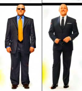 homem gordo com terno ajustado