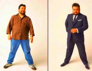 homem gordo estiloso de terno