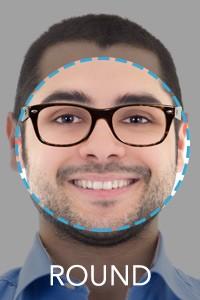 armação de óculos para rosto redondo