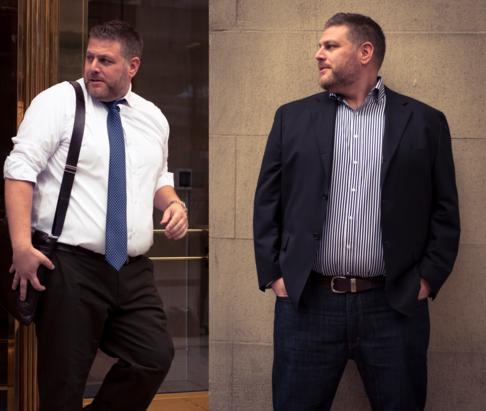 dda5c49693038 Para homens acima do peso o ideal é escolher camisas com ombro que tenha  uma modelagem reta, os chamados ombros quadrados.