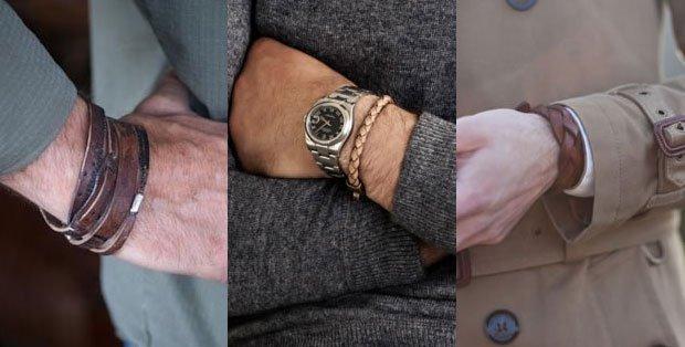 pulseira de couro masculina-