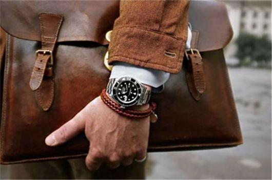 pulseira-masculina-couro-e-relógio