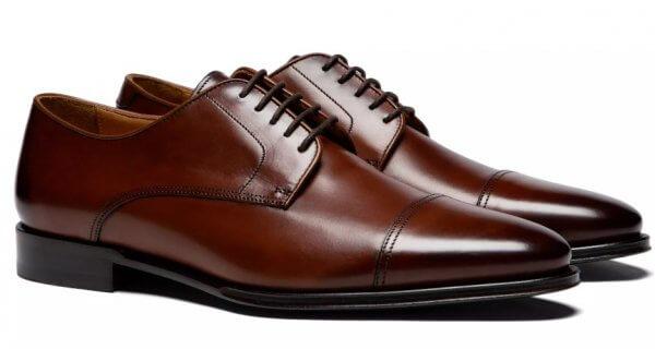 sapato social derby marrom bico redondo