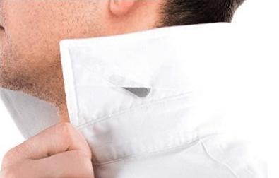 Barbatana de aço no colarinho da camisa