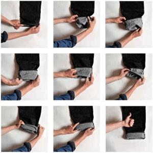 processo de dobrar barra da calça