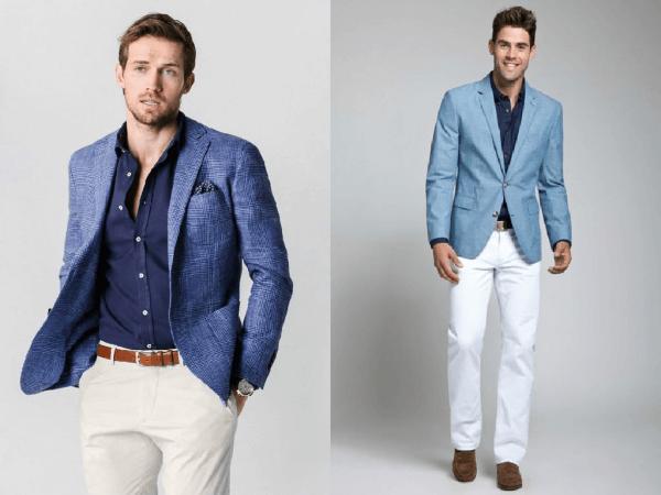 homens usando blazers azul marinho