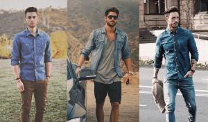 homens usando camisa jeans